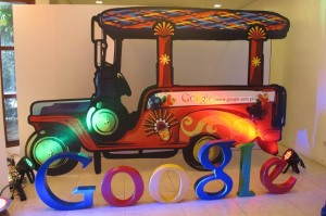 "Google Philippines launch with the ""jeepney"" images on the background - the most popular means of transportation in the Philippines"