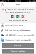 You get the rights to 5 mobile devices with a Home Premium subscription (not counting Windows Phone, which comes with the Office Mobile app installed), in addition to the full client on 5 PCs and Macs. Mac users get Office 2011 for Mac OS X.