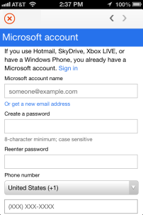 If you purchase an Office subscription plan in-app, you'll need to create a Microsoft ID.